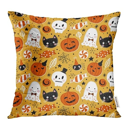 Buy Cute Halloween Holiday With Hand Drawing Pumpkin Ghost