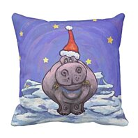 Buy Cute Hippopotamus Festive Hippo Funny Christmas Pillowcase Cover 16x16 Inch By Andrea Marcias On Dot Bo