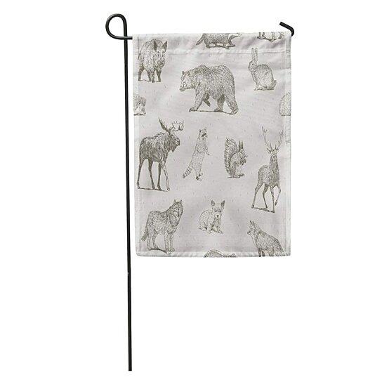 Buy Draw Drawings Forest Moose Fox Bear Badger Garden Flag