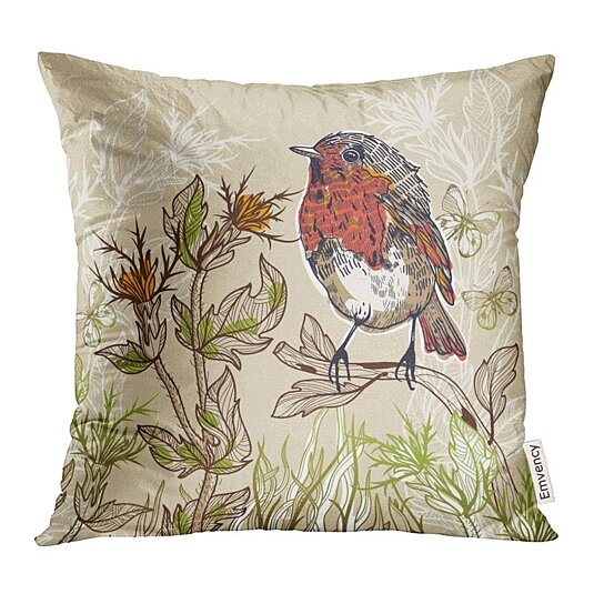 Buy Floral Of Little Bird With Butterflies And Plants Butterfly Pillow Case 18x18 Inches Pillowcase By Andrea Marcias On Dot Bo