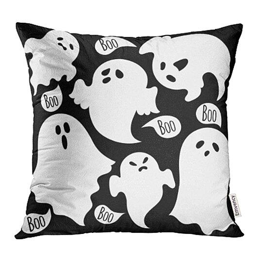 Halloween Cushion Cover Soft Satin Black /& Grey Decorative Throw Pillow Case