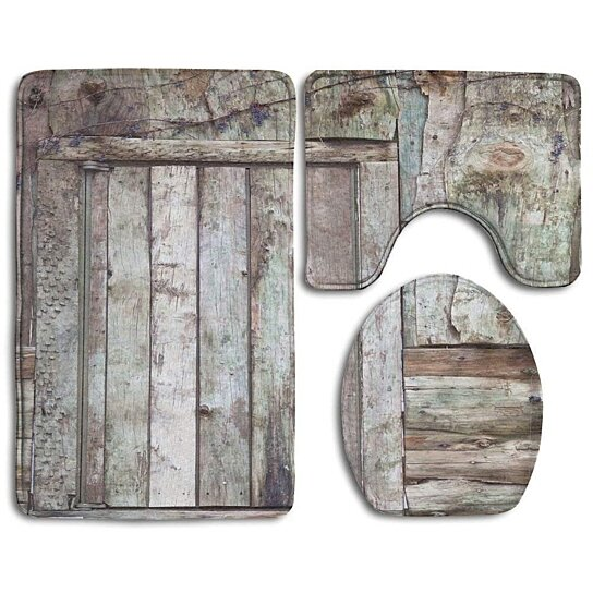 Buy Old Rustic Barn Door Cottage Country Cabin Theme Rural Mystic 3 Piece Bathroom Rugs Set Bath Rug Contour Mat And Toilet Lid Cover By Andrea Marcias On Dot Bo