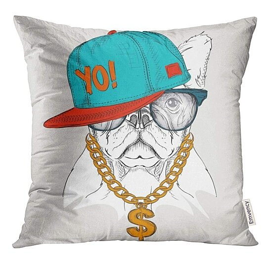 Buy Rap The With Dog Portrait In Hip Hop Hat Animal Pillow Case 16x16 Inches Pillowcase By Andrea Marcias On Dot Bo