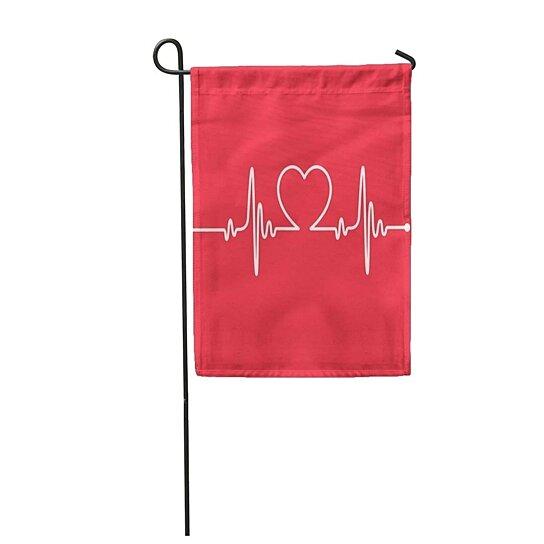 Buy Red Health Heartbeat Line Heart Cardio Rhythm Ekg Cardiology Garden Flag Decorative Flag House Banner 12x18 Inch By Andrea Marcias On Dot Bo