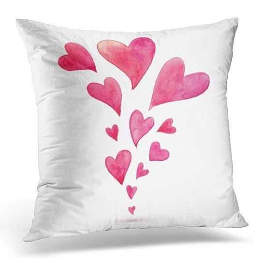 Buy Red Love Pink Watercolor Flying Hearts Spring Colorful Valentine Pillow Case Pillow Cover 20x20 Inch By Andrea Marcias On Dot Bo
