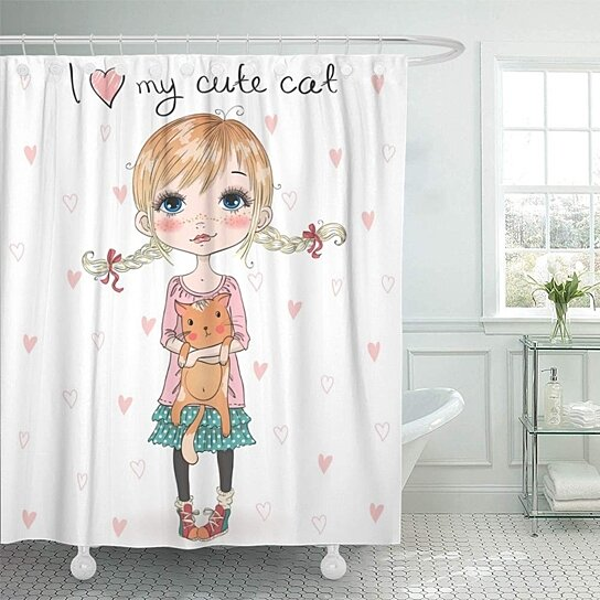 Buy Red Pigtails Beautiful Cute Little Girl Pretty Cat Woman Beauty Cartoon Child Bathroom Shower Curtain 66x72 Inch By Andrea Marcias On Dot Bo