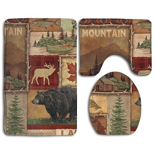 Buy Rustic Lodge Bear Moose Deer 3 Piece Bathroom Rugs Set Bath Rug Contour Mat And Toilet Lid Cover By Andrea Marcias On Dot Bo