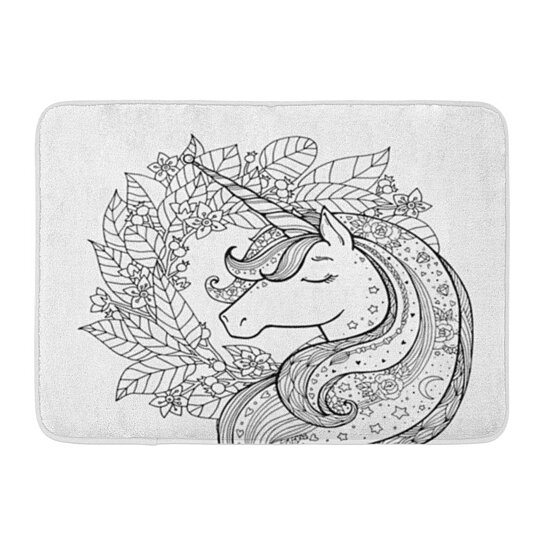 Buy Unicorn Magical Black And Coloring Book Pages For Adults And Kids Funny  Character Doormat Floor Rug Bath Mat 23.6x15.7 Inch By Andrea Marcias On  Dot & Bo