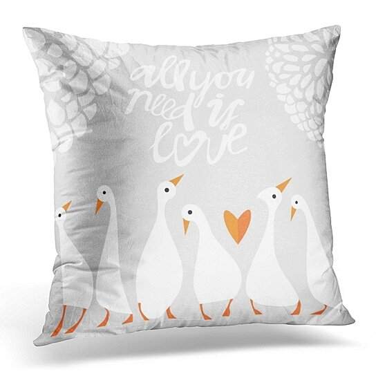 Buy Couple Romantic Goose Cute Birds Duck Pillow Case Pillow Cover 20x20 Inch By Andrea Marcias On Dot Bo