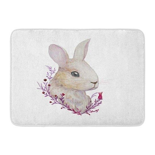 Buy Rabbit Watercolor Easter In Vintage Watercolour Bunny Spring Doormat Floor Rug Bath Mat 23 6x15 7 Inch By Andrea Marcias On Dot Bo