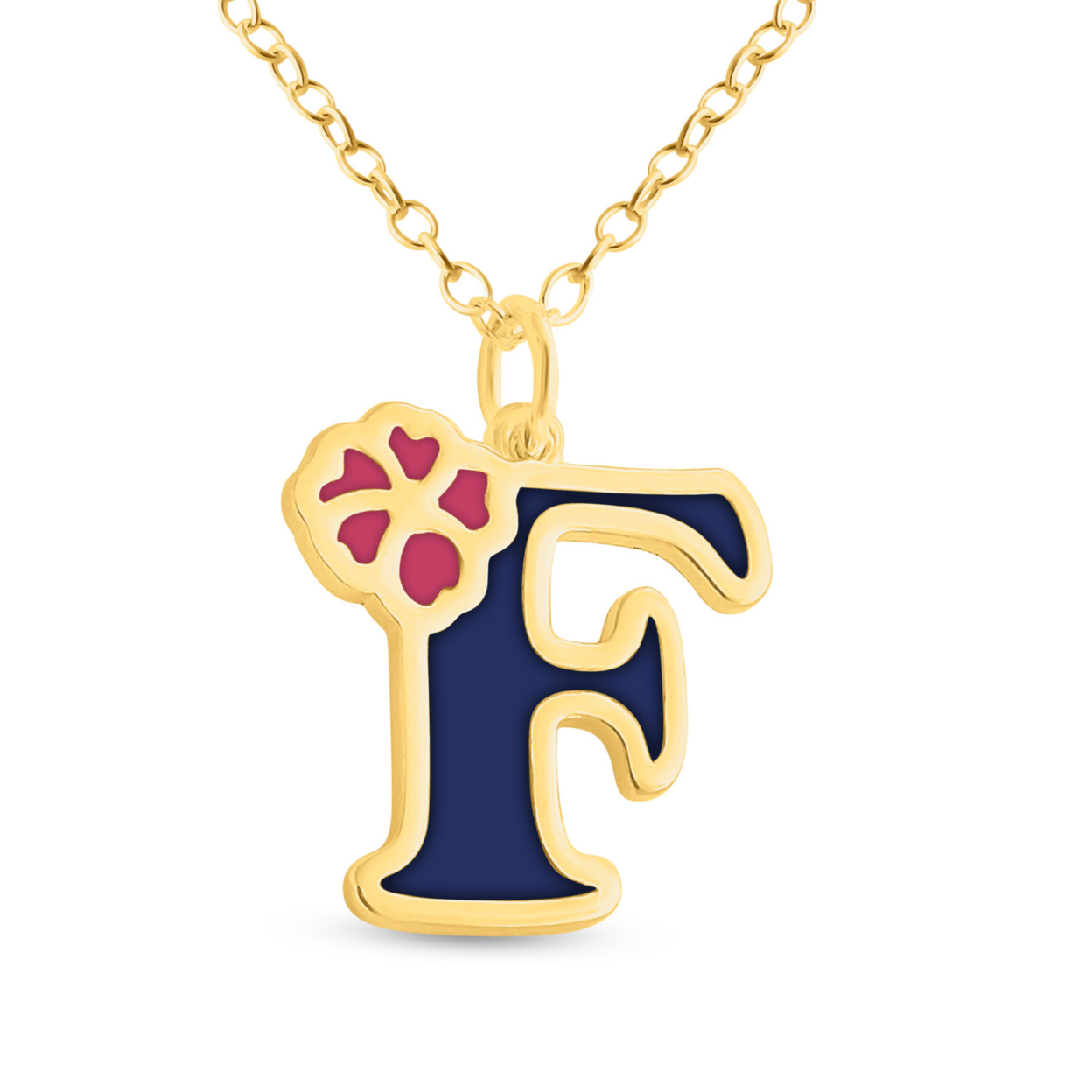 Blue Enameled Initial Letter F With Flower Multi Colors Charm Pendant Necklace #14k Gold Plated Over 925 Sterling Silver #azaggi N0854g_f_v1 12 Child