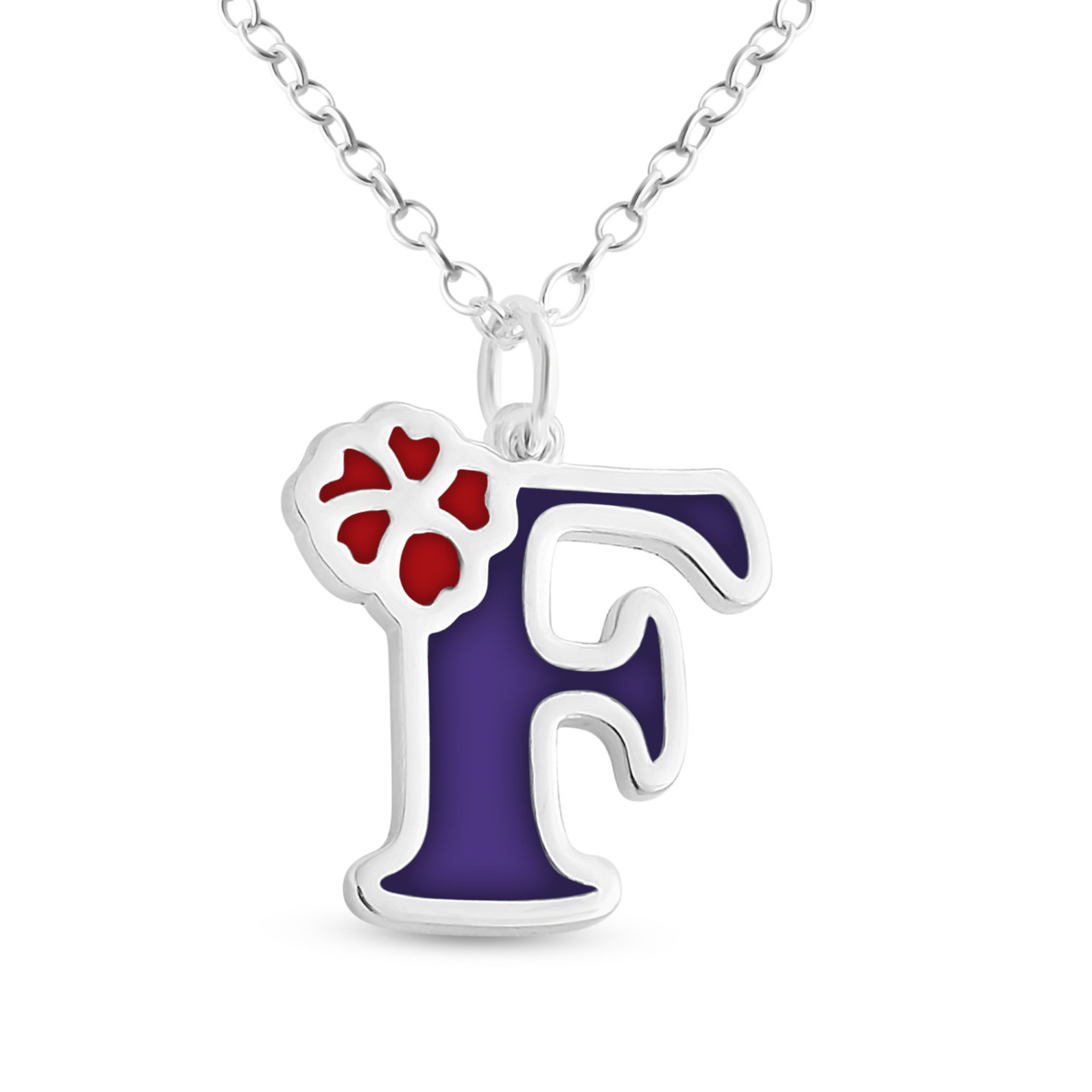 Purple Enameled Initial Letter F With Flower Multi Colors Charm Pendant Necklace #925 Sterling Silver #azaggi N0854s_f_v3 12 Child