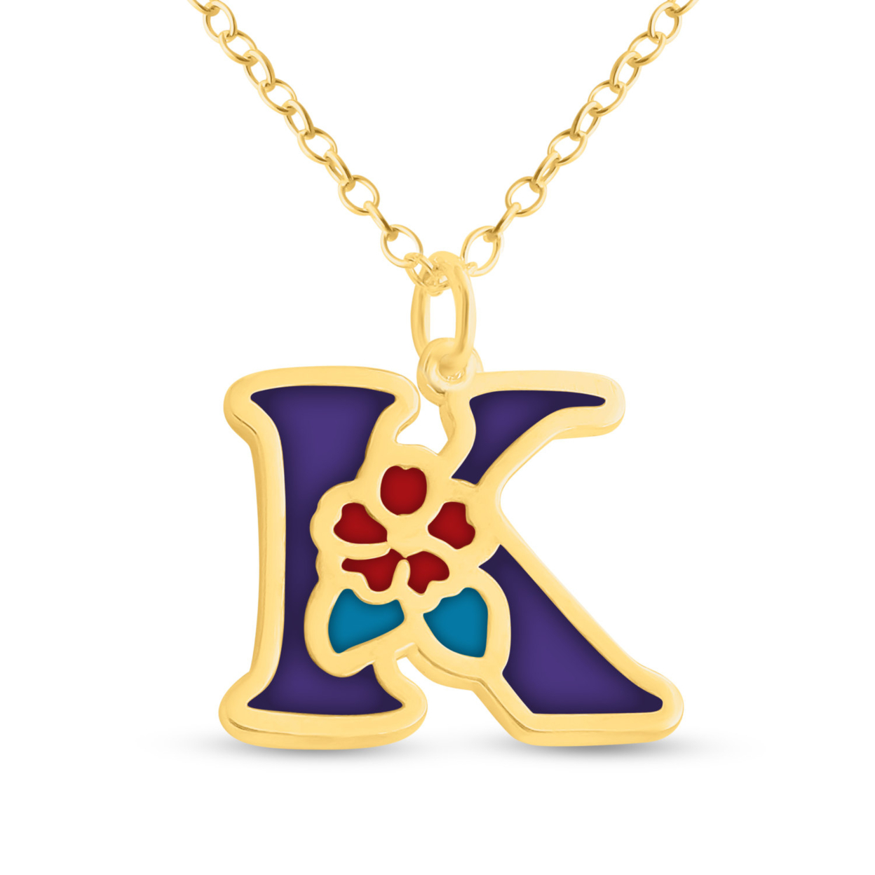 Purple Enameled Initial Letter K With Flower Colors Charm Pendant Necklace #14k Gold Plated Over 925 Sterling Silver #azaggi N0854g_k_v3 12 Child