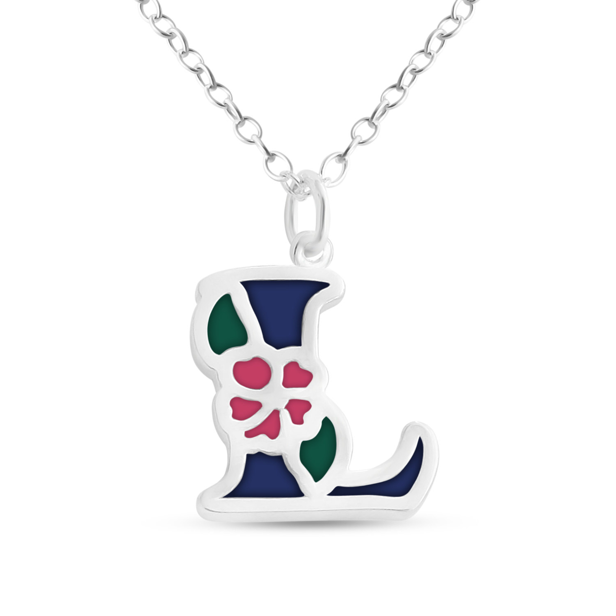 Blue Enameled Initial Letter L With Flower Multi Colors Charm Pendant Necklace #925 Sterling Silver #azaggi N0854s_l_v1 12 Child