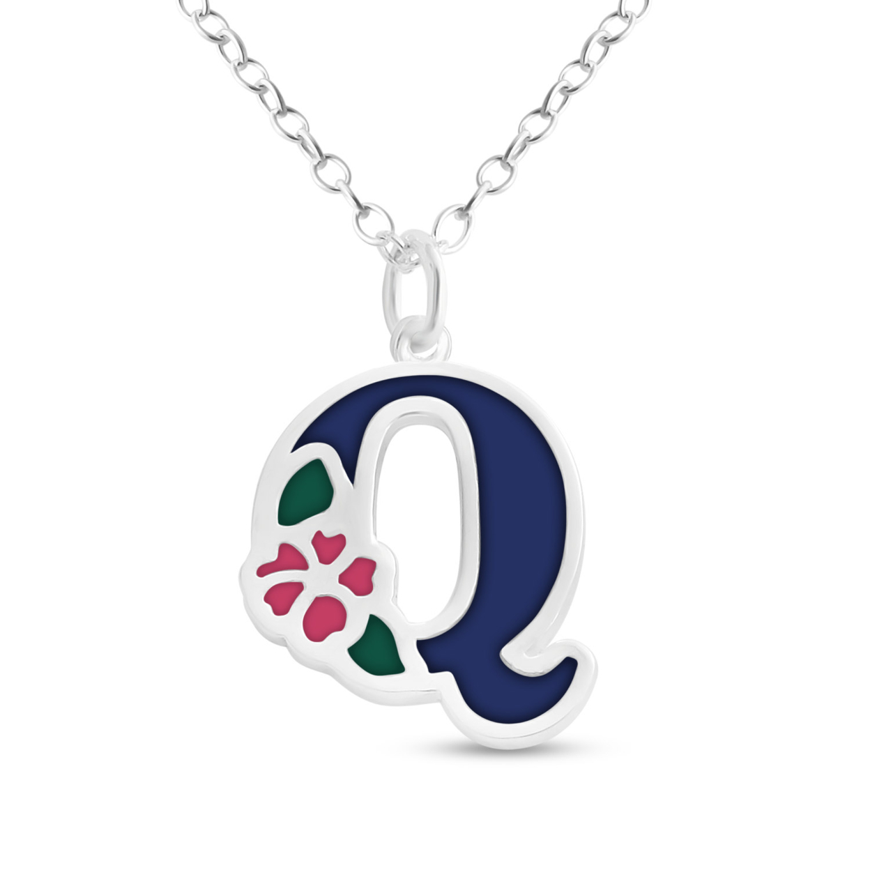 Blue Enameled Initial Letter Q With Flower Multi Colors Charm Pendant Necklace #925 Sterling Silver #azaggi N0854s_q_v1 12 Child