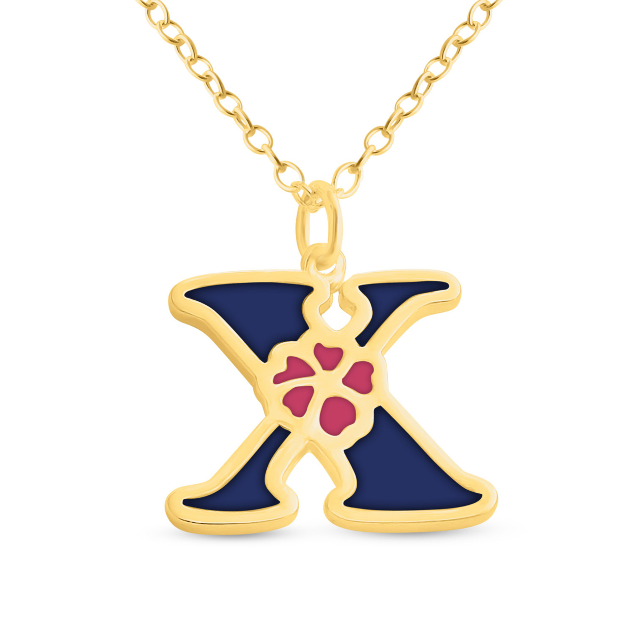 Blue Enameled Initial Letter X With Flower Multi Colors Charm Pendant Necklace #14k Gold Plated Over 925 Sterling Silver #azaggi N0854g_x_v1 12 Child