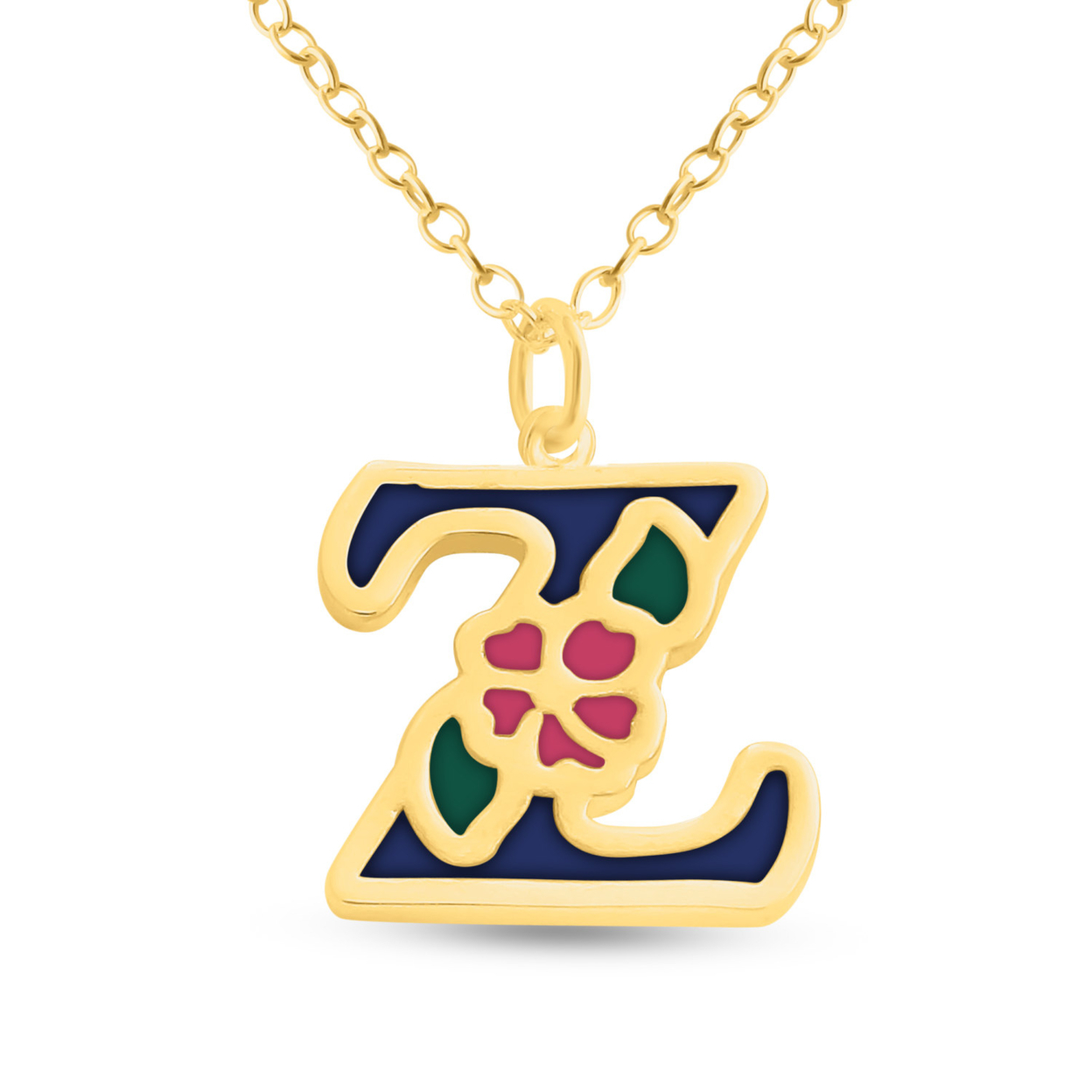 Blue Enameled Initial Letter Z With Flower Multi Colors Charm Pendant Necklace #14k Gold Plated Over 925 Sterling Silver #azaggi N0854g_z_v1 12 Child