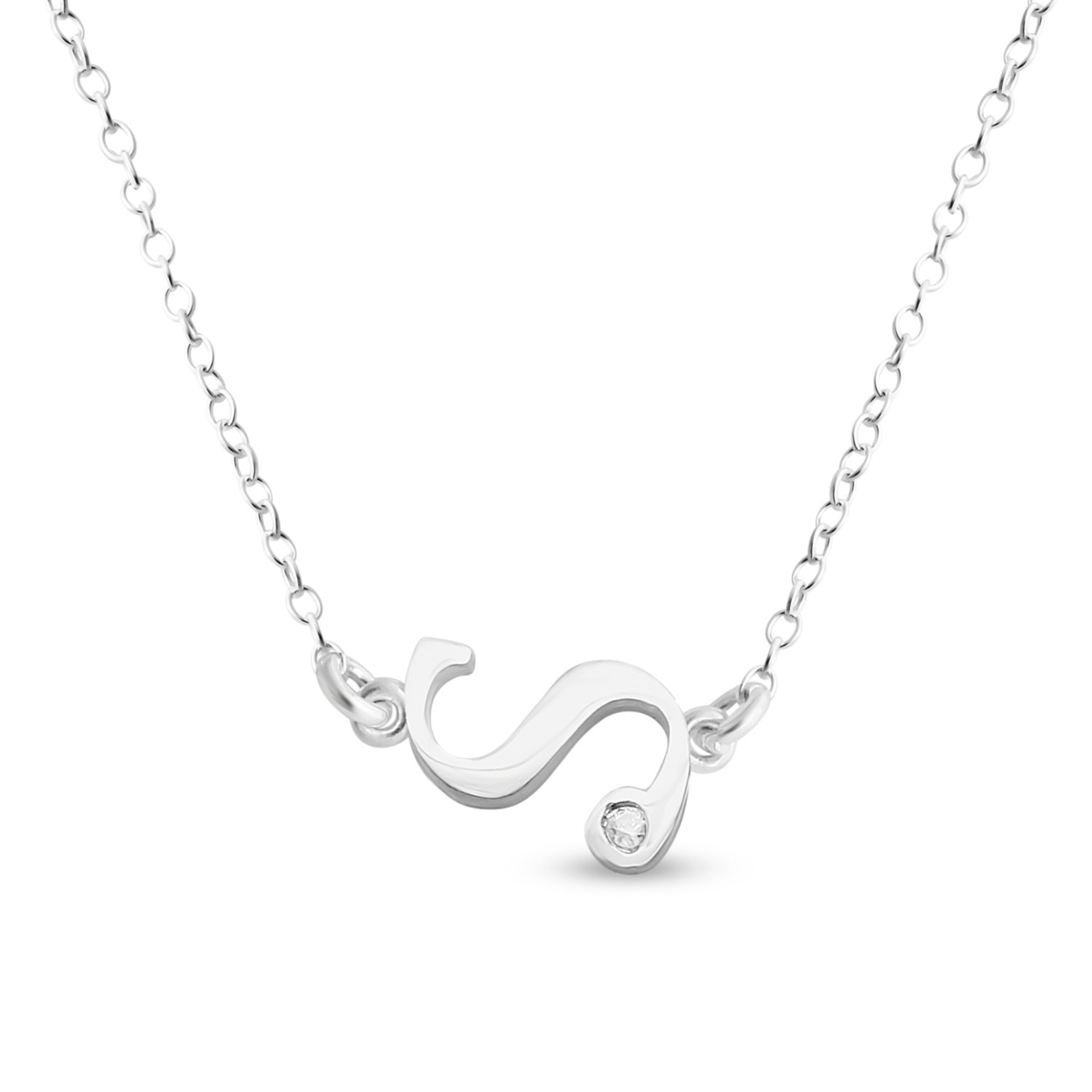 Initial Script Letter S With Clear Cubic Zirconia Stone Sideways Charm Pendant Necklace #925 Sterling Silver #azaggi N0853s_s 12 Child