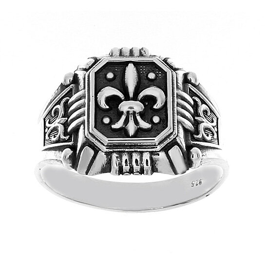 Buy Fleur De Lis French Lily Flower European Royal Symbol Mens Ring