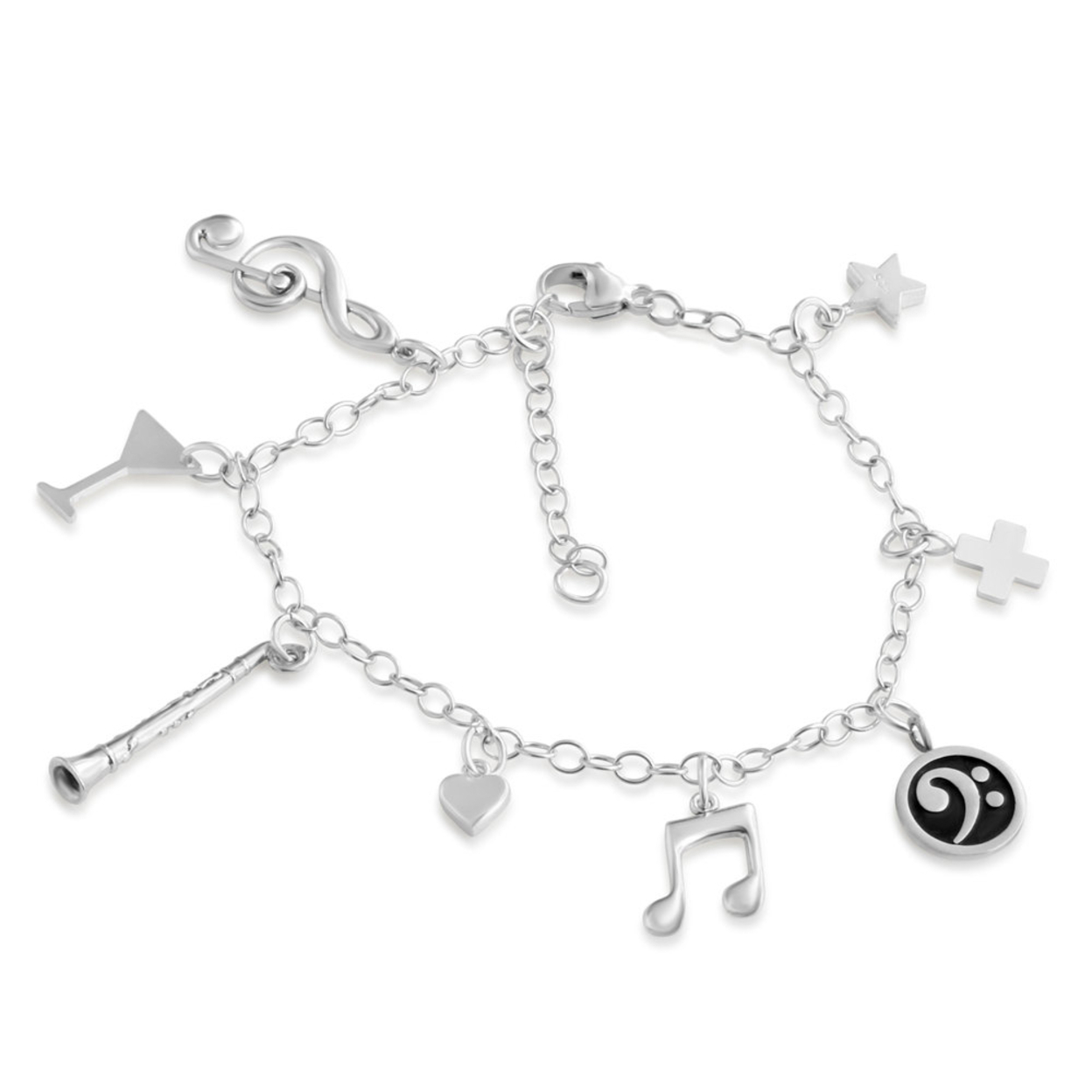 Music Lovers Musical Note Treble Clef Flute Star Heart Plus Cocktail Glass Multi Charm Bracelet #925 Sterling Silver #azaggi B0553s