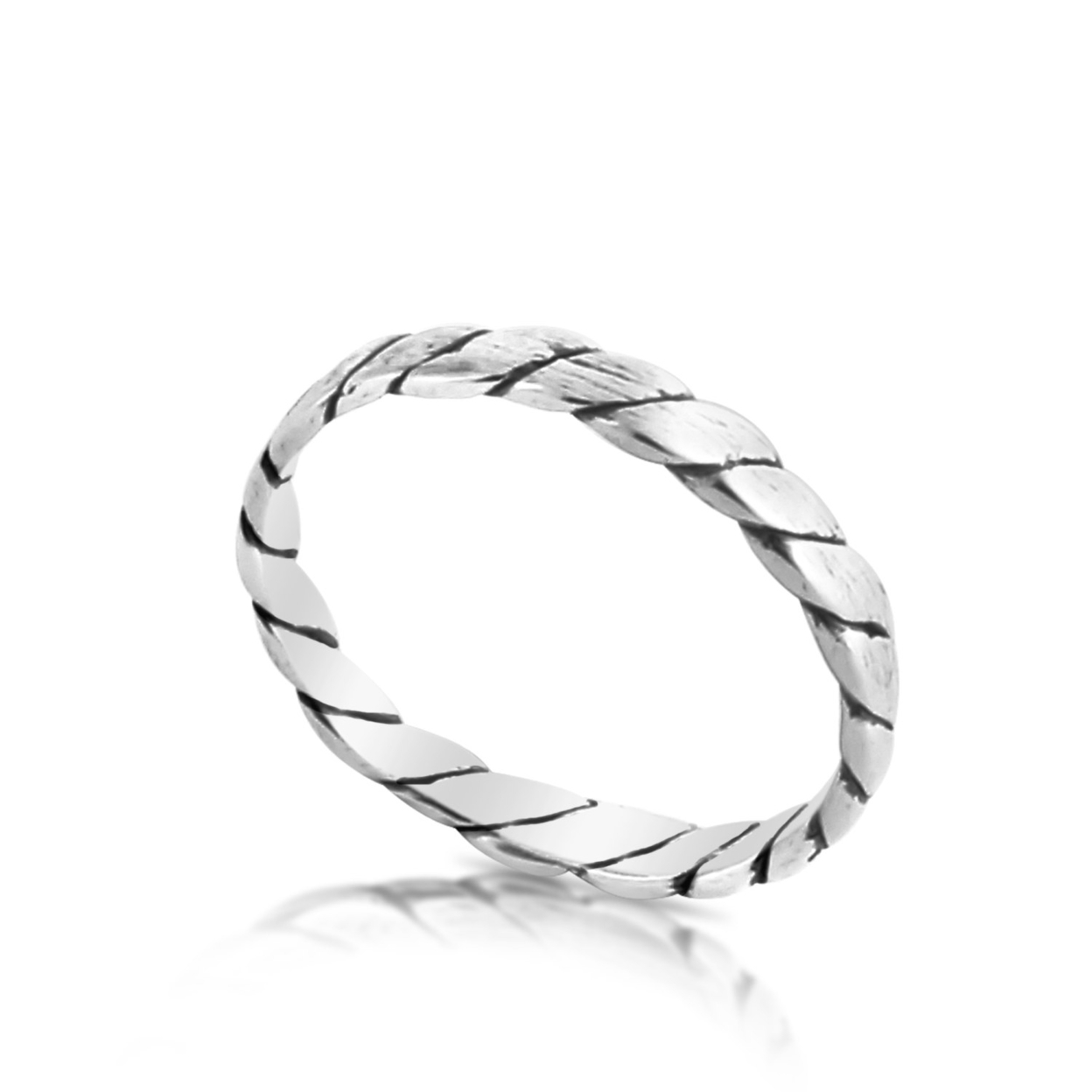 Rope Stackable Ring Band #925 Sterling Silver #azaggi R0289s 5