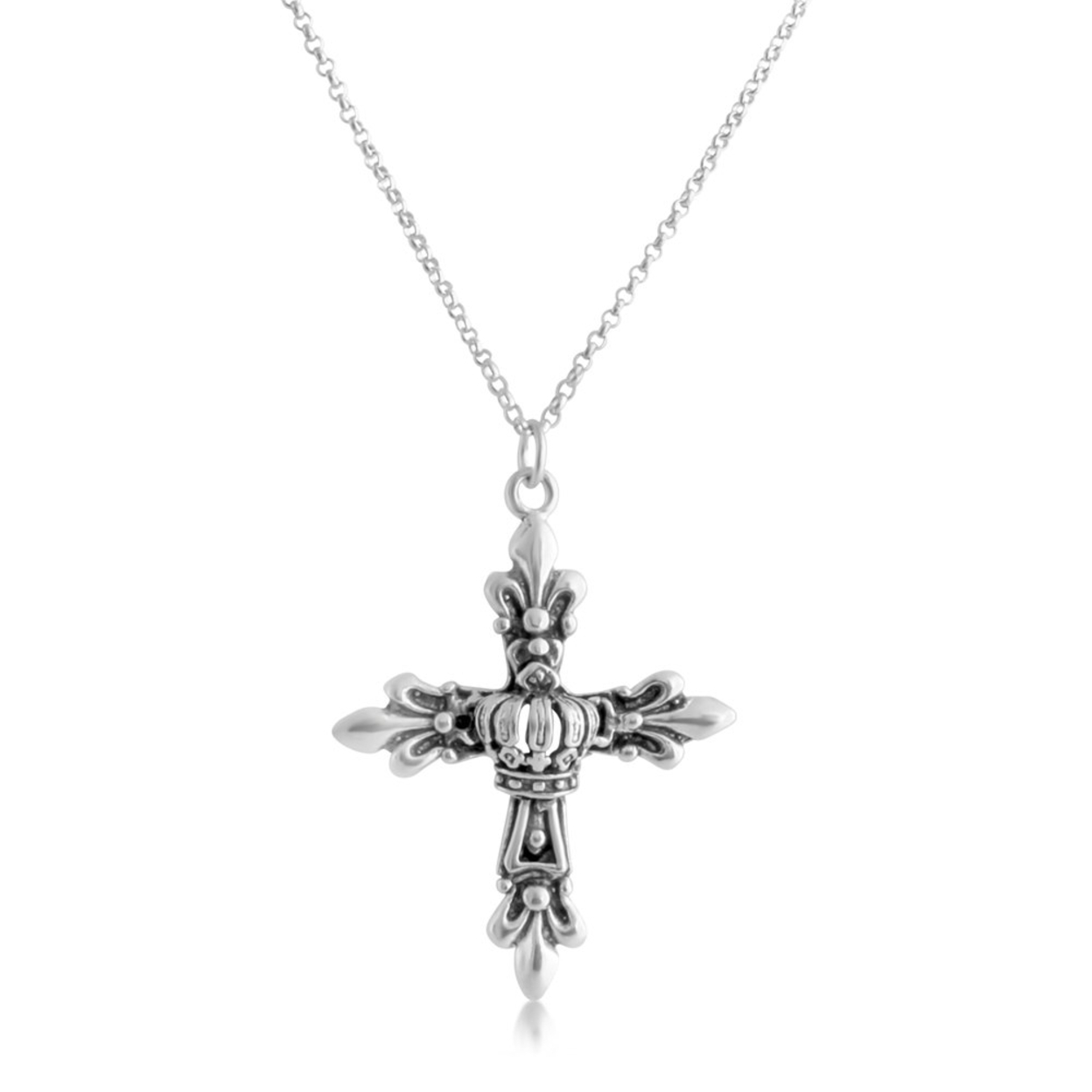 Royal Fleur De Lis Cross French Lily Flower European Symbol Christian Religious Charm Pendant Necklace #925 Sterling Silver #azaggi N0662s 12 Child