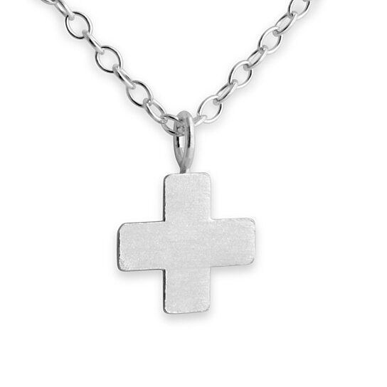 Simple Tiny Greek Cross St  George's Christian Religious Symbol Plus Sign  Shape Charm Pendant Necklace #925 Sterling Silver #Azaggi N0238S