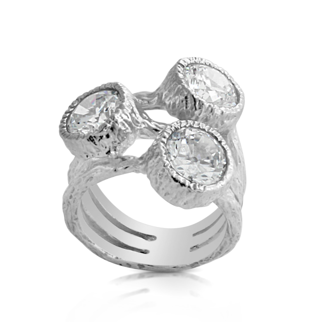 3 Clear Round Cubic Zirconia Stones Bezel Setting Textured Triple Band Womens Ring #925 Sterling Silver #azaggi R0237s 5
