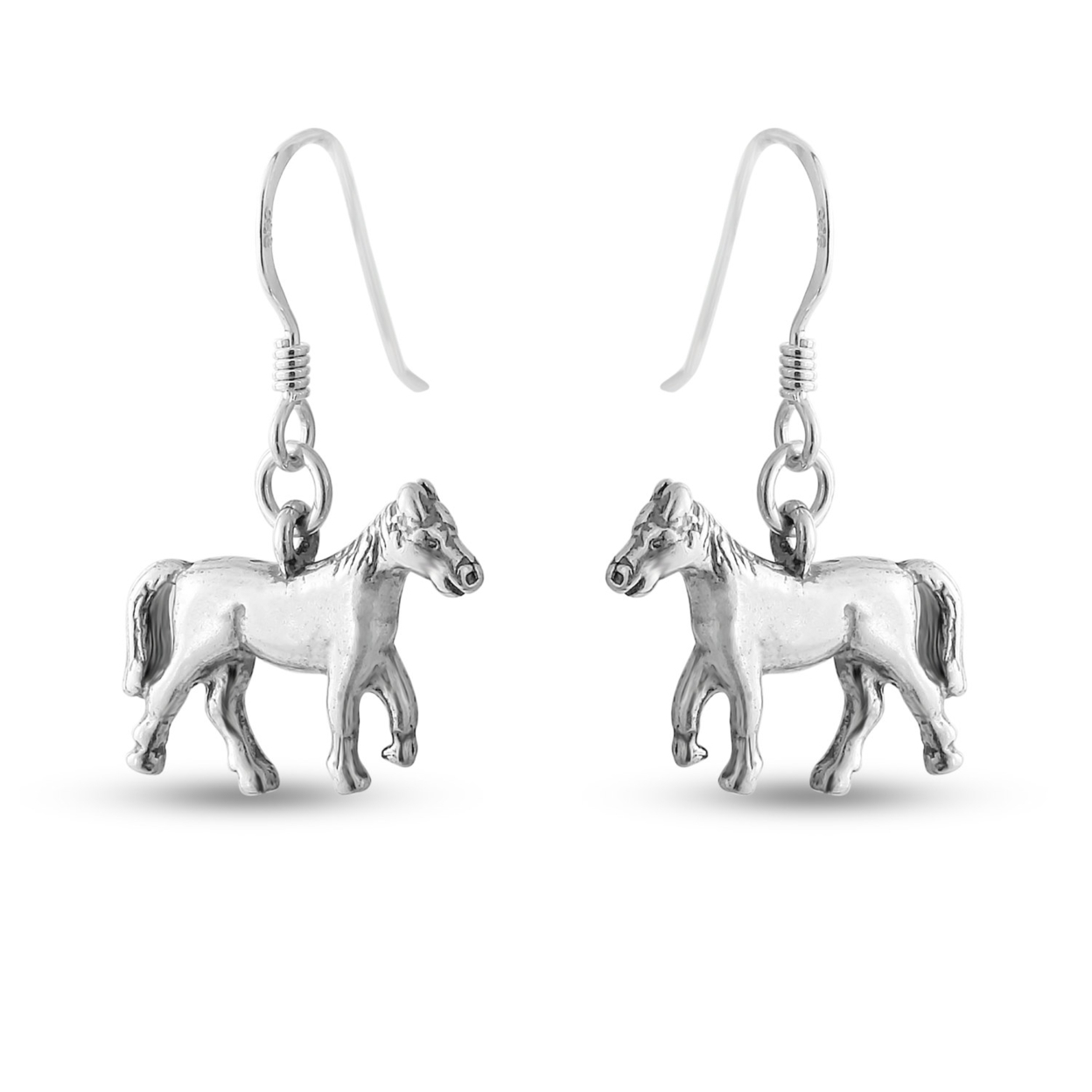 Solid 3d Wild Mare Horse Animal Symbol Of Victory & Freedom Drop Dangle Hook Earrings #925 Sterling Silver #azaggi E0519s