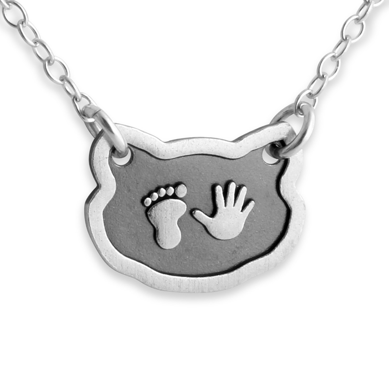 Baby Hand And Foot Print Newborn Feline Shape Two-tone Charm Pendant Jump Ring Necklace #925 Sterling Silver #azaggi N0276s 12 Child