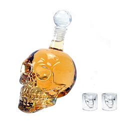 500ML Crystal Head Vodka Bottle and Two Crystal Skull Pirate Shot Glass Drink Cocktail Beer Cups Set (Color: Transparent)