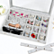 Clear Lid  Slots Jewelry Rings Earrings Tray Showcase Display Storage