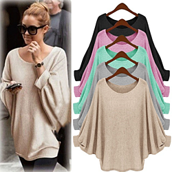 3a27f48b1e02 Womens Oversized Batwing Knitted Pullover Loose Sweater Tee Tops