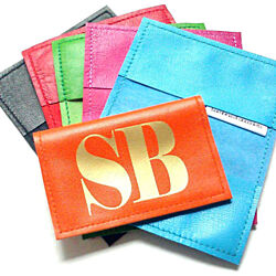 Metro Personalized Initial Leather Business & Credit Card Holder - Brights