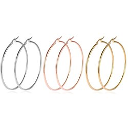 18K Gold Plated Hoop Earrings, 3 Pairs, Stainless Steel Hoops Earrings Set for Women(50-70mm)