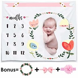 Monthly Baby Milestone Blanket Photo Props Shoots Backdrop for Newborn Boy Girl (Headband Frame Included),Reusable personalized I