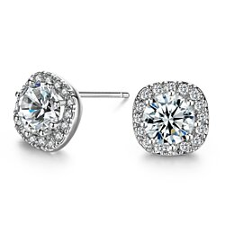 SBLING Platinum Plated Sterling Silver AAAA Cubic Zirconia Cushion Shape Halo Stud Earrings (1.90 cttw)