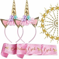 Unicorn Party Supplies Headband for Girls (pack of 2) -  Handmade Craft - 2 Pink Satin Sash and 10 Gold Unicorn Cake Topper - Bir