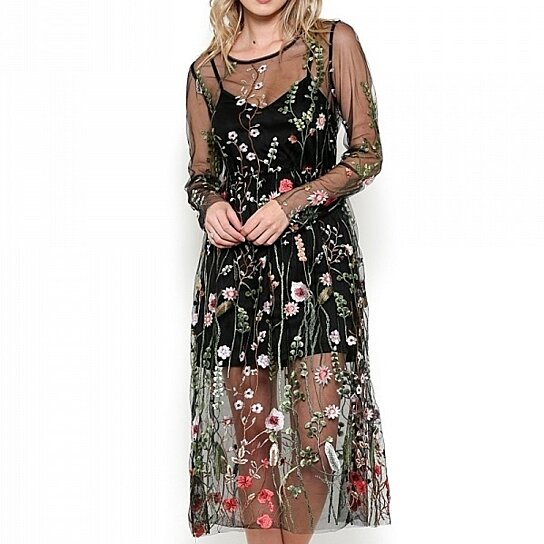0a6b2ba8b18 Trending product! This item has been added to cart 22 times in the last 24  hours. Esley Collection Bohemian Black Floral Mesh Embroidered Midi Dress
