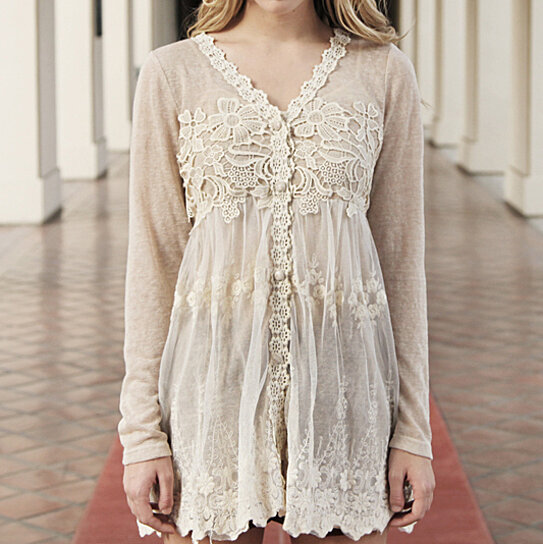 4ce82bc03917d2 Buy Ryu Anthropologie Cream Lace Crochet embroidered Tunic Top S M L by  Baretreesboutique on OpenSky