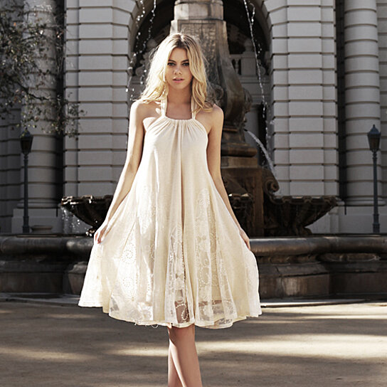 Buy Ryu Cream Lace Detail Halter Cocktail Dress S M L By