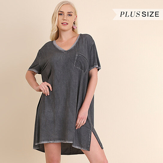 1360ae1198883 Buy Umgee Washed V Neck T Shirt Dress S M L XL 1XL 2XL by Baretreesboutique  on OpenSky
