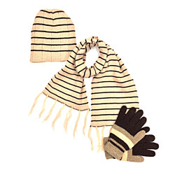 3-Piece Knitted Hat, Scarf & Gloves Set: 5 Colors