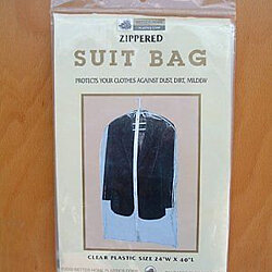 3-Pack: Clear Plastic Zippered Suit Bags