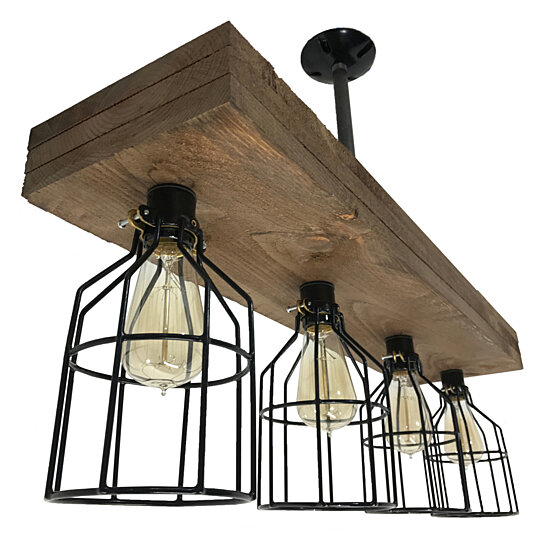 Farmhouse Lighting Rustic 3 Board Light With Cages Vintage Style Wood