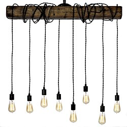 Wrapped Wood Beam and Porcelain Sockets Light (8 Lights)