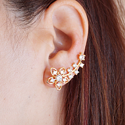 Flower Ear Climber, Floral Ear Crawler, Gold and Silver Flower Ear Crawlers, Flower Ear Pins, Crystal Ear Wraps, Ear Cuffs