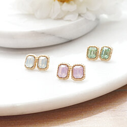 Opaque Faceted Square Stud Crystal Earrings, Pastel Stud Earrings