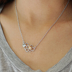Silver Cut Out Honeycomb Bumblebee Bee Necklace