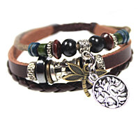 Dragonfly and Tree of Life Multi Strand Beaded Leather Bracelet for Men, Women, Boys, Girls